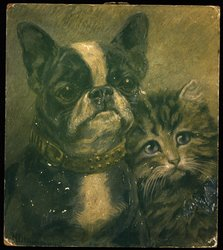 WHEN KNIGHTS WERE BOLD, dog and cat, (title on reverse)