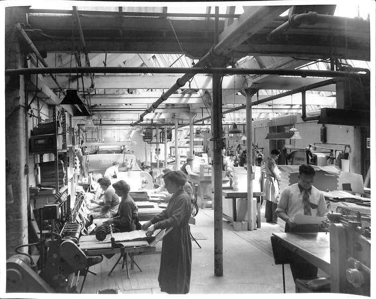 ten workers processing cards