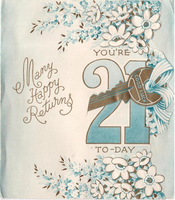 YOU'RE 21 overlaid with gilt die-cut key, flowers above & below, MANY HAPPY RETURNS left