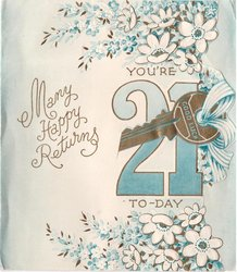 YOU'RE 21overlaid with gilt die-cut key, flowers above & below, MANYHAPPY RETURNS left