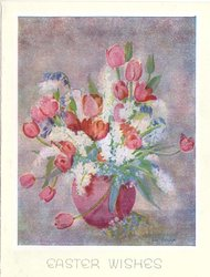 EASTER WISHES pink tulips, white hyacinths & sparse bluebells in cherry red vase