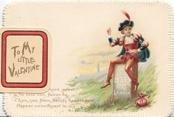 TO MY LITTLE VALENTINE on flap covering circular inset of sitting black cat, verse, girl seated on milestone