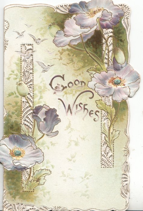 GOOD WISHES in gilt on left flap between perforated vertical purple & white pansy designs