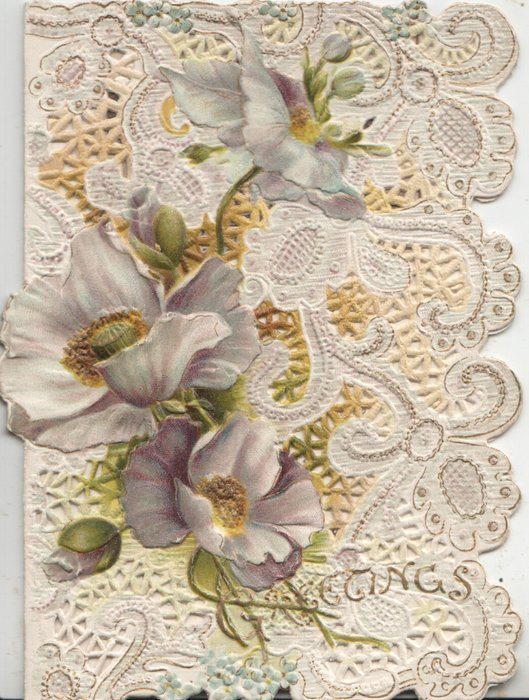 GREETINGS in gilt below much perforated vertical purple & white pansy designs, glittered