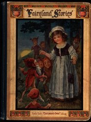 FAIRYLAND STORIES girl in white dress with dwarves in forest