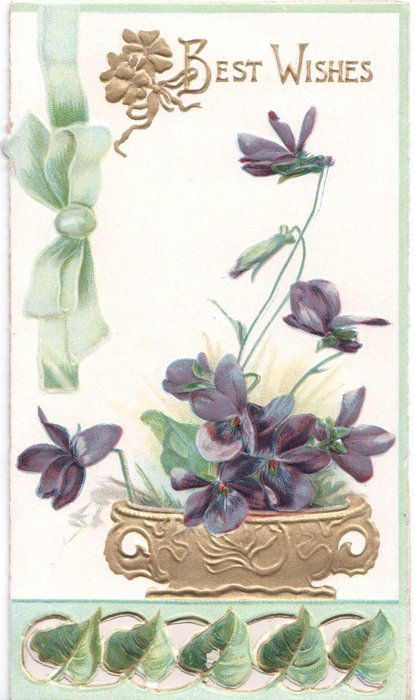 BEST WISHES in gilt, violets below in gilt pot, above ivy leaves