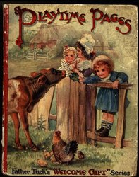 PLAYTIME PAGES two girls lean over fence to feed cow