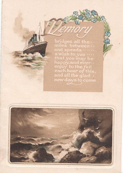MEMORY boat sails past inset with verse and forget-me-nots, inset of seashore below