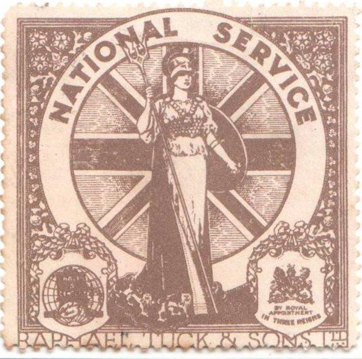 World War I, NATIONAL SERVICE poster stamp