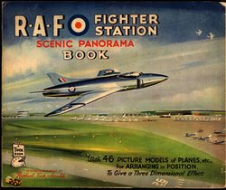 R.A.F. FIGHTER STATION SCENIC PANORAMA BOOK, stapled version, no envelope