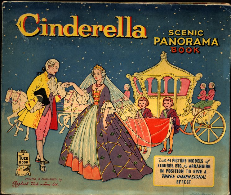 CINDERELLA SCENIC PANORAMA BOOK, foldout version with envelope