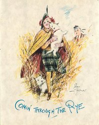 COMIN THROUGH THE RYE woman & two Scotch terries front, man peeks from behind tall grass