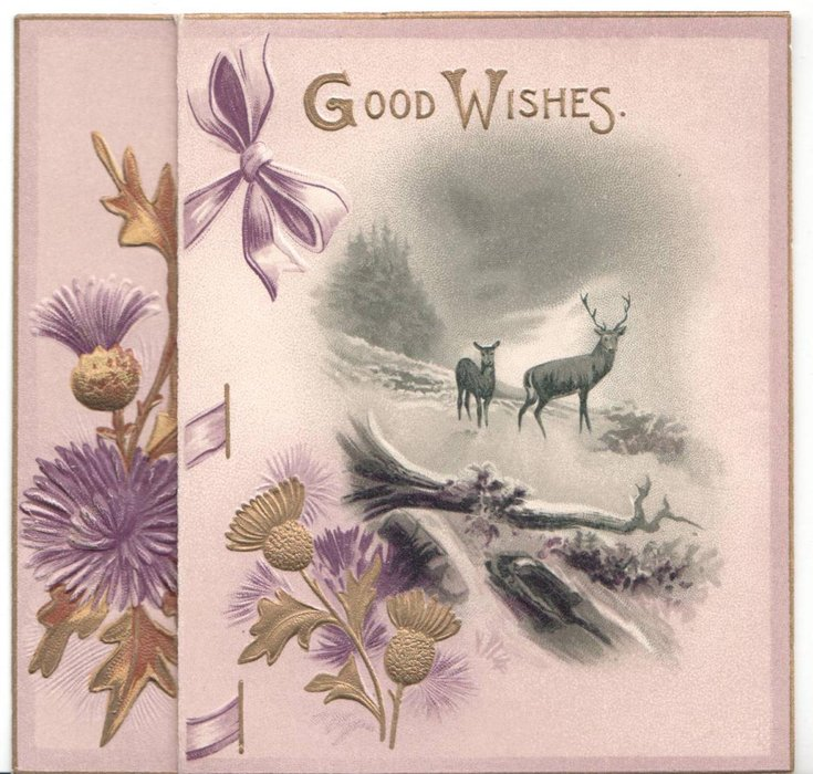 GOOD WISHES nature scene with deer, large thistles to the left