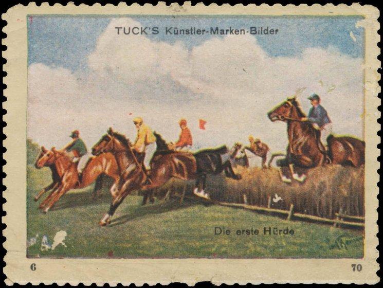 TUCK'S KUNSTLER-MARKEN-BILDER, DIE ERSTE HURDE,(the first hurdle)