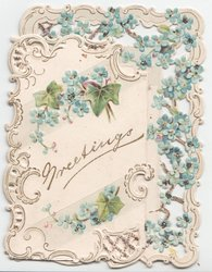 GREETINGS in gilt, surrounded by heavily perforated margins and blue forget-me-nots