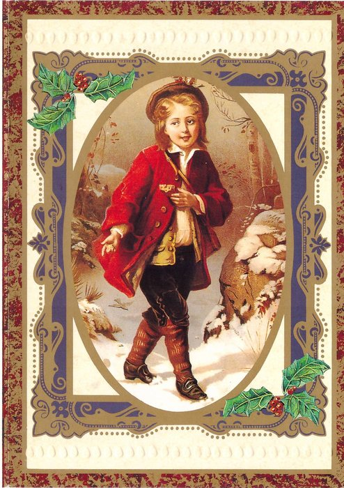 child in red jacket steps right in snow, holds biscuit in hand