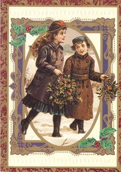 two girls walk in snow carrying holly
