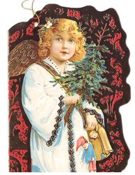 angel holds fir bough & 2 dolls