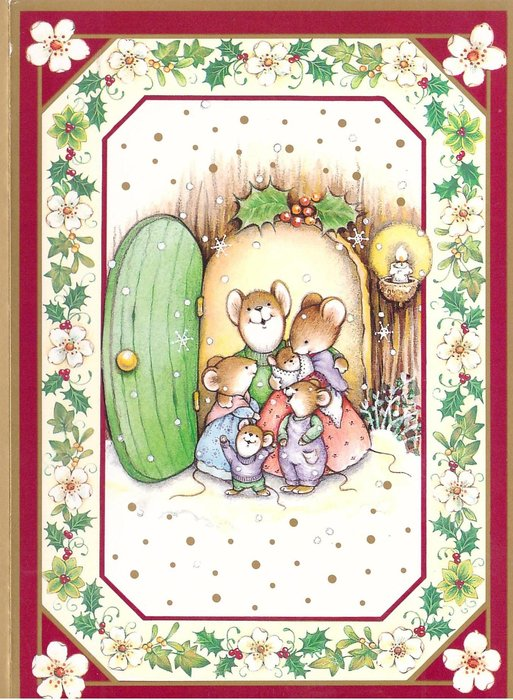 no front title, mouse family in open doorway, snow falls, holly & white flower border