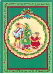 no front title,two mice decorate Christmas tree, holly border