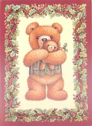 no front title, bear holds teddy bear, holly border