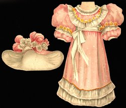 pink and white dress and hat