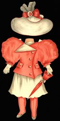 dark pink jacket and white skirt and hat