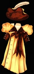 yellow and brown gown with brown hat
