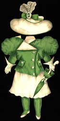 green and white dress and hat