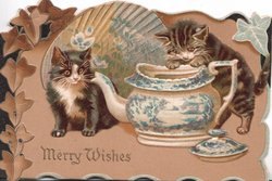 MERRY WISHES in gilt below 2 kittens investigating blue china, stylised ivy,