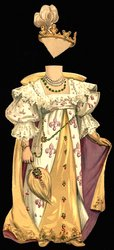 white purple and yellow gown with crown
