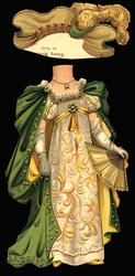 COURT BALL DRESS (title on reverse) white, yellow, and green gown and hat