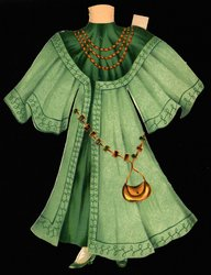 green gown and hat