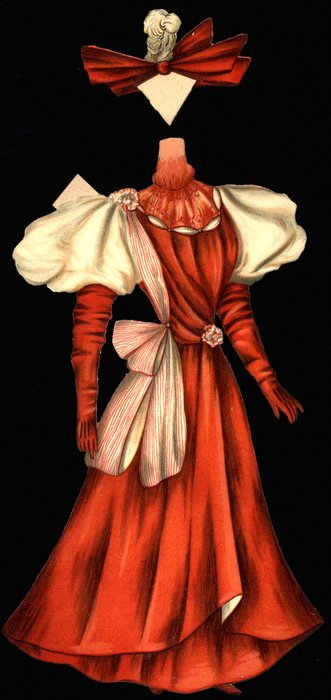 red gown and hat,
