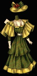 green and red striped dress with yellow cape and hat