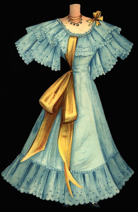 blue dress with large yellow ribbon and hat