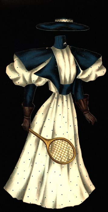 white and blue tennis outfit and hat