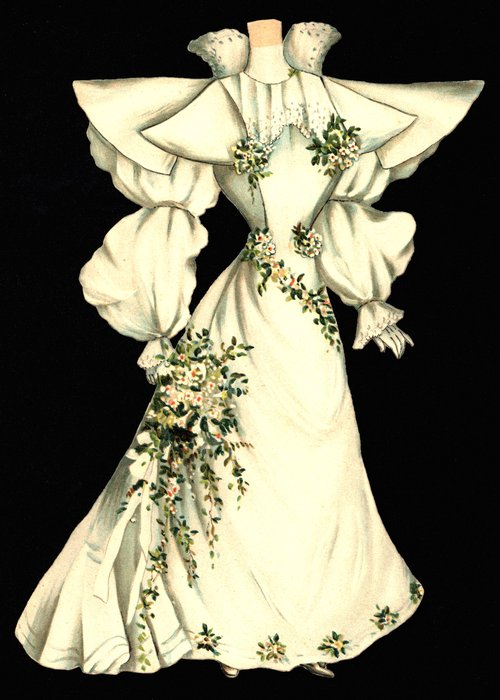 white wedding dress (hat is missing)