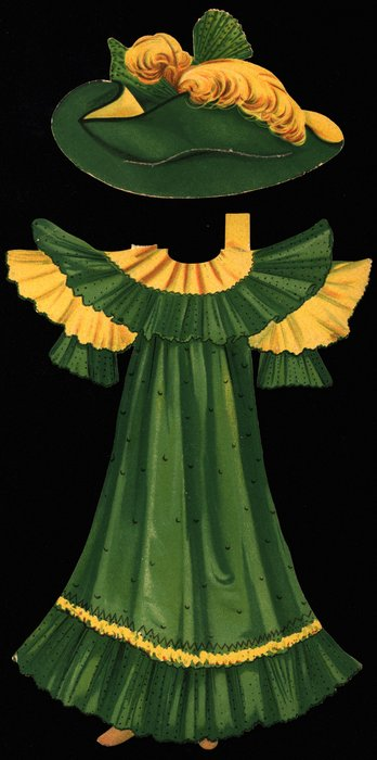 green and yellow dress and hat