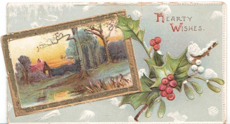 HEARTY WISHES rural inset surrounded in gilt beside holly