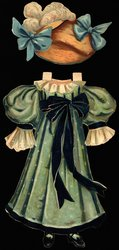 blue green dress with a large blue ribbon and hat