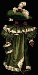 green coat, cape, and muff trimmed with white fur