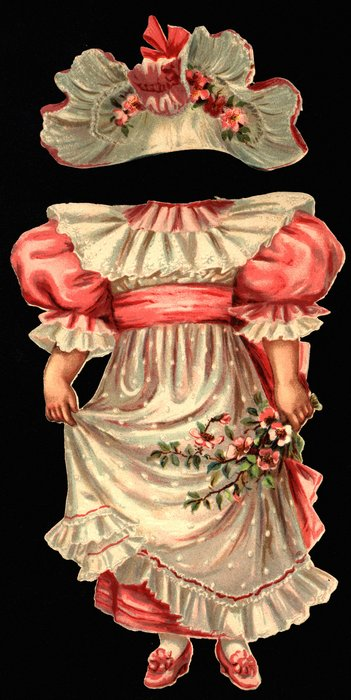 pink dress with white lace and apron