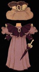 light and dark purple dress and hat