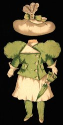 green jacket and white skirt and hat