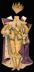 gold suit with purple and white cape and crown