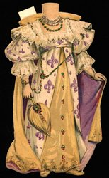 white purple and yellow gown with crown (crown missing)