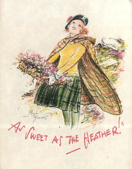 AS SWEET AS THE HEATHER! woman holds basket of heather, faces front left