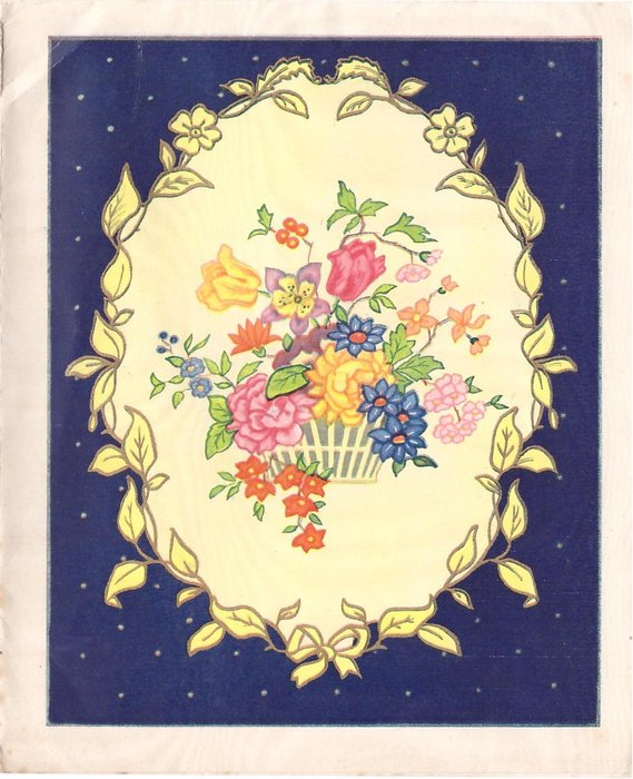 no front title, basket of mixed flowers inset with leaf border, blue background