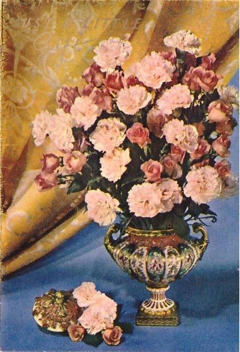 JUST A LITTLE GIFT in gilt, vase with pink roses & carnations, golden fabric behind